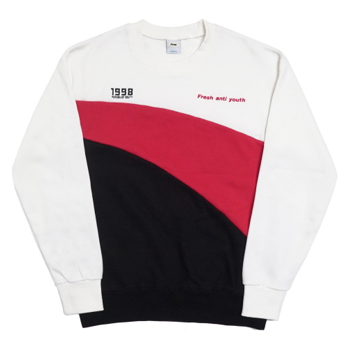 [Fresh anti youth] Wave-Crewneck Sweater - White