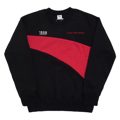 [Fresh anti youth] Wave-Crewneck Sweater - Black