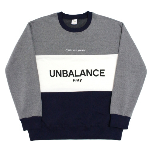 [Fresh anti youth] Unbalance-Crewneck Sweater - Navy