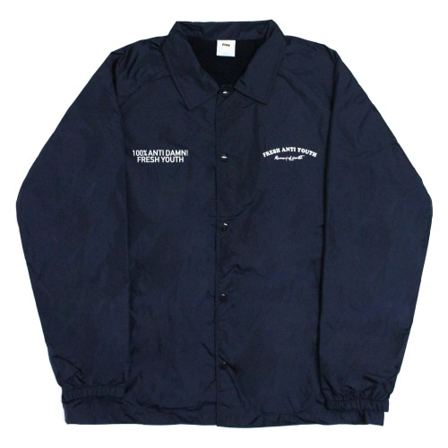 [Fresh anti youth] Fray Coach-Jacket - Navy