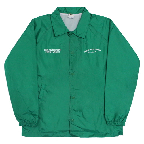 [Fresh anti youth] Fray Coach-Jacket - Green