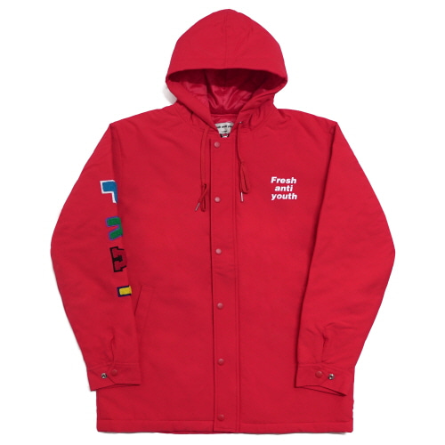 [Fresh anti youth] Anti Winter Fray Parka - Red