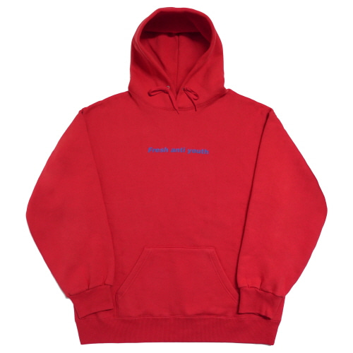 [Fresh anti youth] Logo Hood Sweater - Red