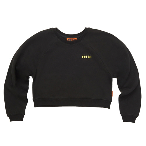 [FRAY] LOGO CROP CREWNECK SWEATER - BLACK