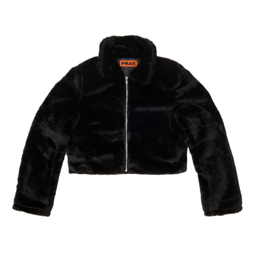 [FRAY] FLEECE FUR JACKET - BLACK
