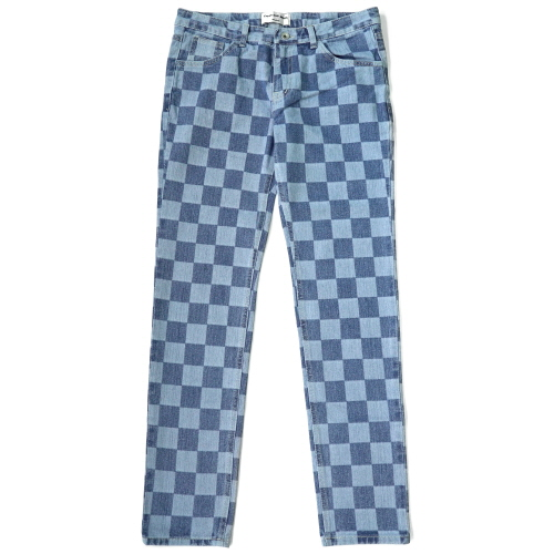 [Fresh anti youth] Checker Denim Pants - Indigo Blue