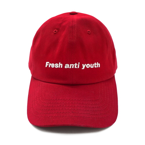 [Fresh anti youth] Fray Logo Ball Cap - Red