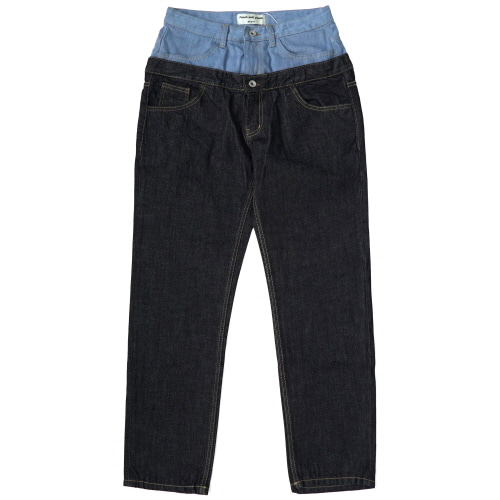 [Fresh anti youth] Double Roll Up Denim Pants - Indigo Blue