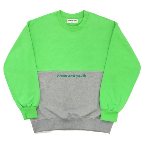 [Fresh anti youth] Half Sweatshirt - Neon Green