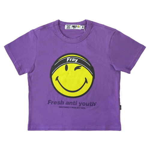 [FRAY x SMILEY] FRAY LOGO SMILE T-SHIRTS (FOR WOMEN) - VIOLET