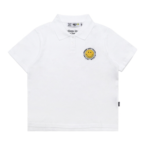 [FRAY x SMILEY] ANTI SMILE POLO SHIRTS (FOR WOMEN) - WHITE