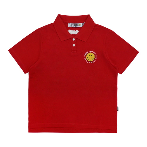 [FRAY x SMILEY] ANTI SMILE POLO SHIRTS (FOR WOMEN) - RED