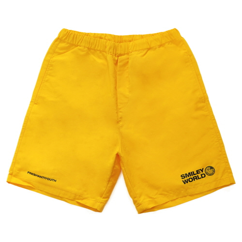 [FRAY x SMILEY] SMILEY WORDL RELAX SHORT PANTS - YELLOW