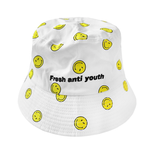 [FRAY x SMILEY] SMILEY BUCKET HAT - WHITE