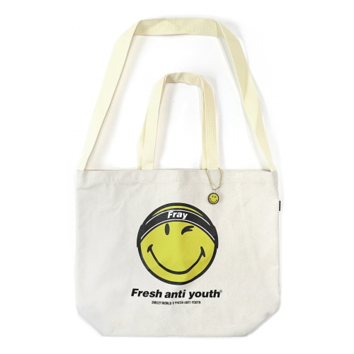 [FRAY x SMILEY] FRAY LOGO SMILE SHOLDER BAG - NATURAL