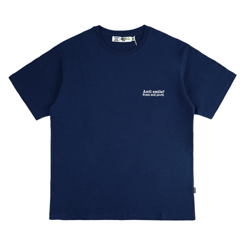 [FRAY x SMILEY] ANTI SMILE T-SHIRTS - NAVY