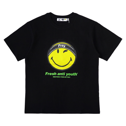 [FRAY x SMILEY] FRAY LOGO SMILE T-SHIRTS - BLACK