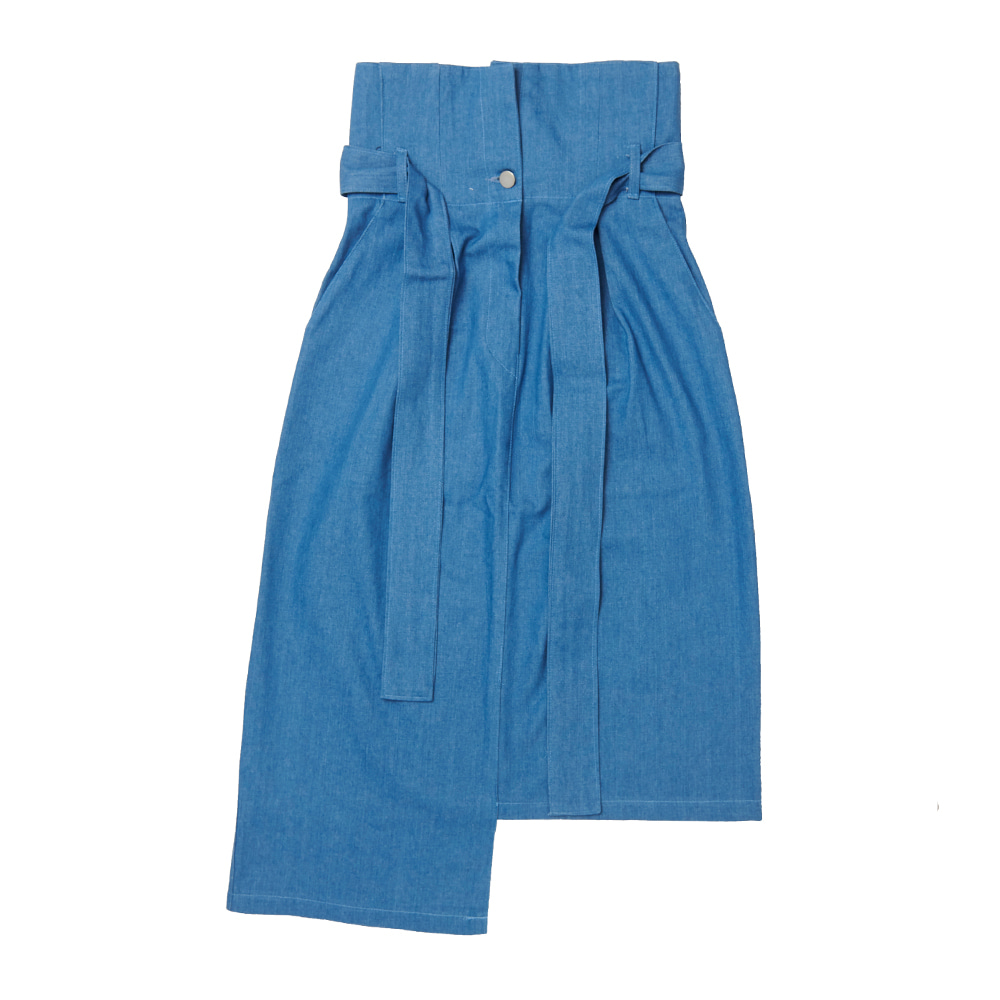 FR UNBALANCE HIGH WAIST SKIRT - BLUE