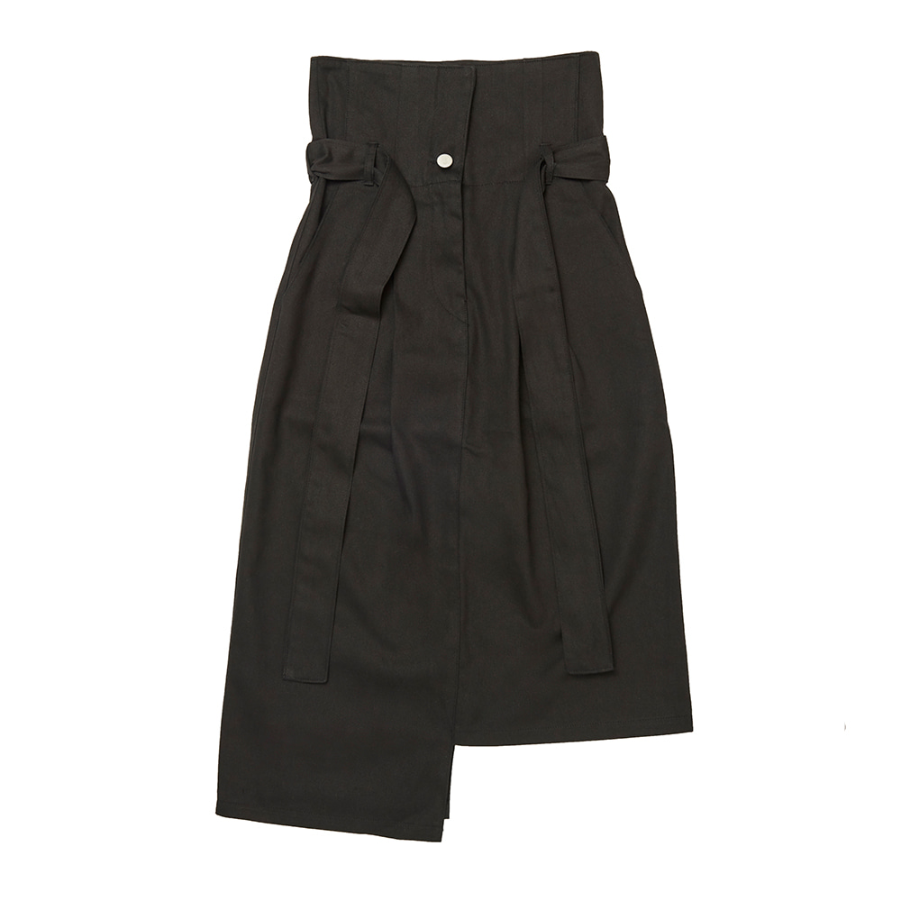FR UNBALANCE HIGH WAIST SKIRT - BLACK