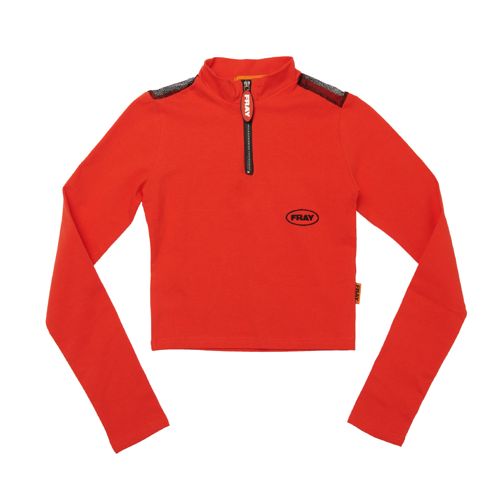 FRAY LONG SLEEVE TOP - RED