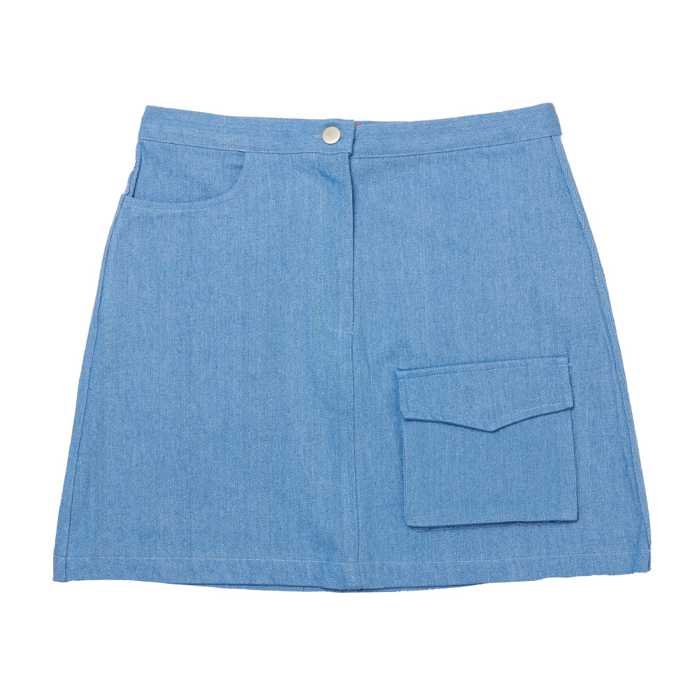 FR FLAP POCKET A-LINE SKIRT - BLUE