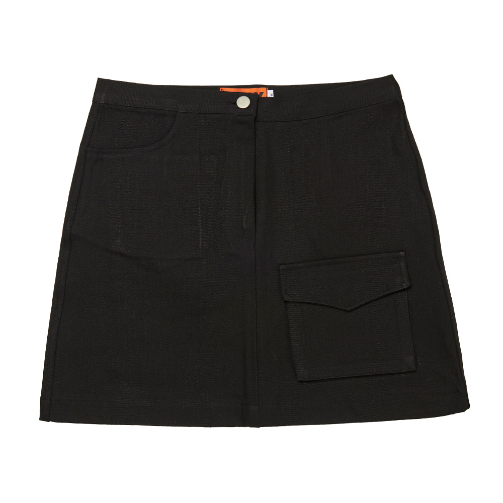 FR FLAP POCKET A-LINE SKIRT - BLACK