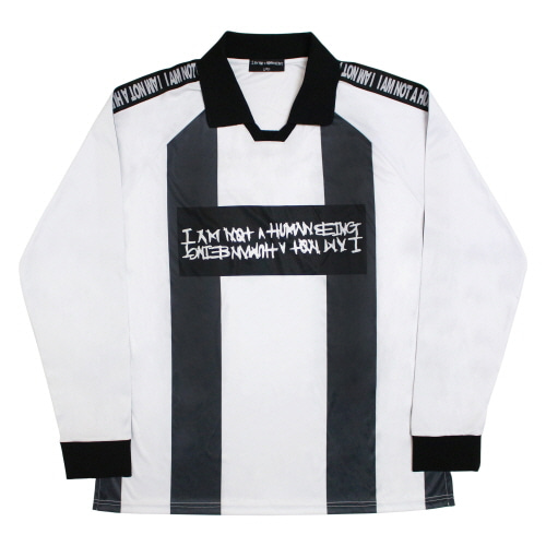 [17FW] Basic Logo Tape Soccer Jersey - Black/White