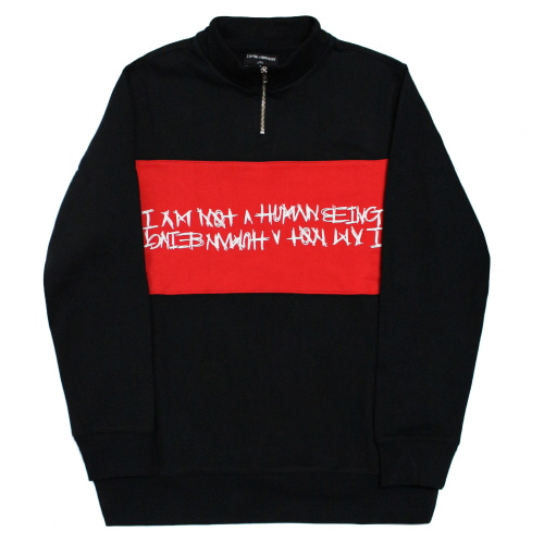 [17FW] Basic Logo Pull Over Sweat Shirts - Black/Red