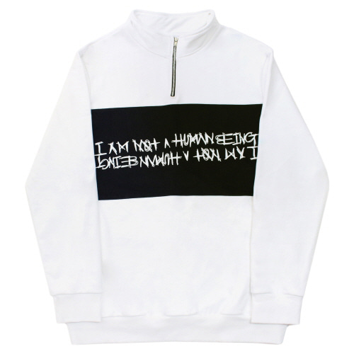 [17FW] Basic Logo Pull Over Sweat Shirts - White/Black