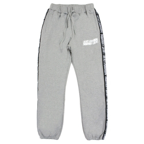 [17FW] Basic Logo Tape Sweat Pant - Grey/Black