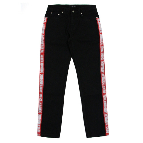 [17FW] Basic Logo Tape Denim Jean - Black/Red