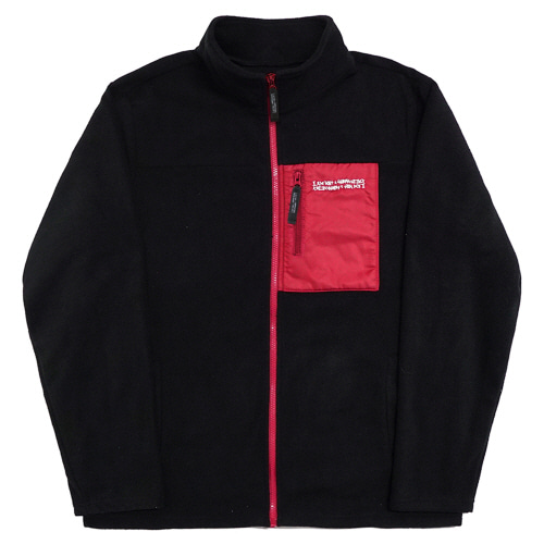 [17W] Basic Logo Fleece Jacket - Black/Red