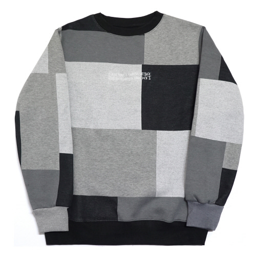 [17W] Patch Work Basic Logo Crewneck Shirt - Achromatic Color