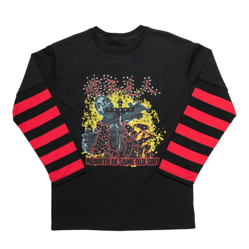 REBIRTH LONG SLEEVE T SHIRTS ( STUD Ver.) - BLACK