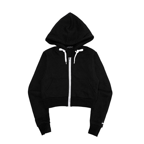 [18FW] LOGO PATCHED CROP ZIP-UP HOODIE - BLACK