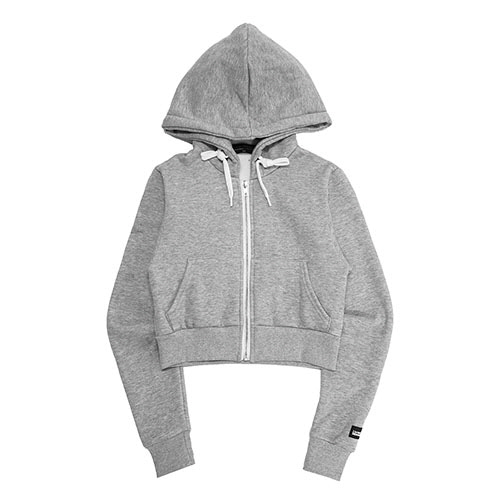 [18FW] LOGO PATCHED CROP ZIP-UP HOODIE - GREY