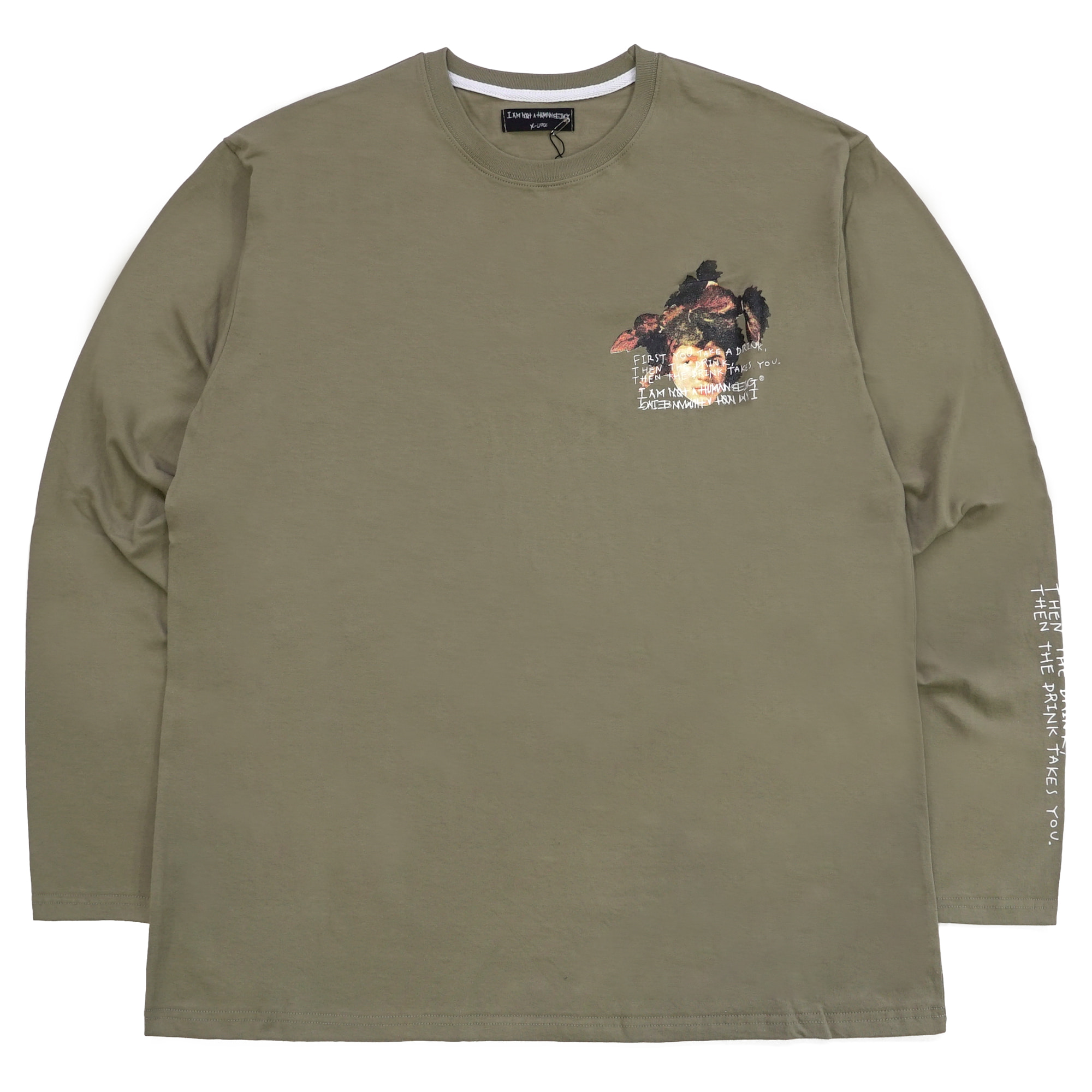 [18SS] THE DRINK TAKES YOU L/S T-SHIRT - OLIVE GREEN