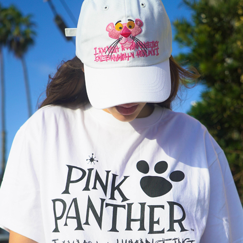 [PPXHB] Pink Panther Face Ball Cap - White