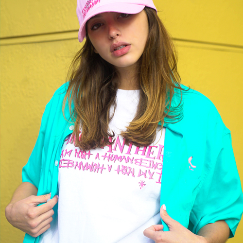 [PPXHB] Pink Panther Mixed Basic Logo2 T-Shirt - White
