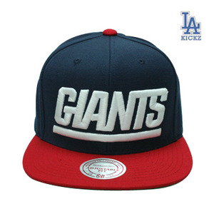 Mitchell And Ness New York Giants STA3 Wool Snapback Cap (navy  red)