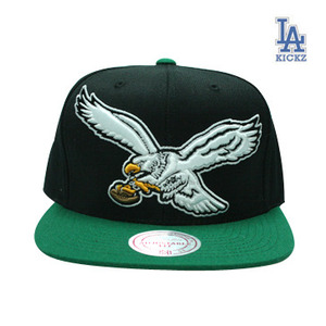 Mitchell And Ness Philadelphia Eagles STA3 Wool Snapback Cap (black  green)