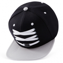 Black And Grey Leather Snapback