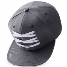 Grey Leather Snapback