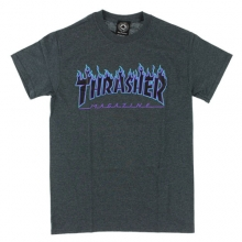 Flame Logo Short Tee - Charcoal Heather/Blue