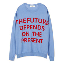 [Andersson Bell] SLOGAN INTARSIA SWEATER atb088 - Sky Blue