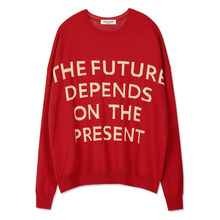 [Andersson Bell] SLOGAN INTARSIA SWEATER atb088 - Red