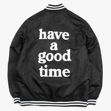 [Have a good time](30%세일) Logo Varsity Jacket - Black