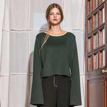[Another A]Flared Sleeve Roundneck Knit Top - Green