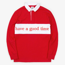 [Have a good time](30%세일) Side Logo Rugby Tee - Red