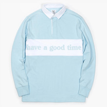 [Have a good time](30%세일) Side Logo Rugby Tee - Light Blue